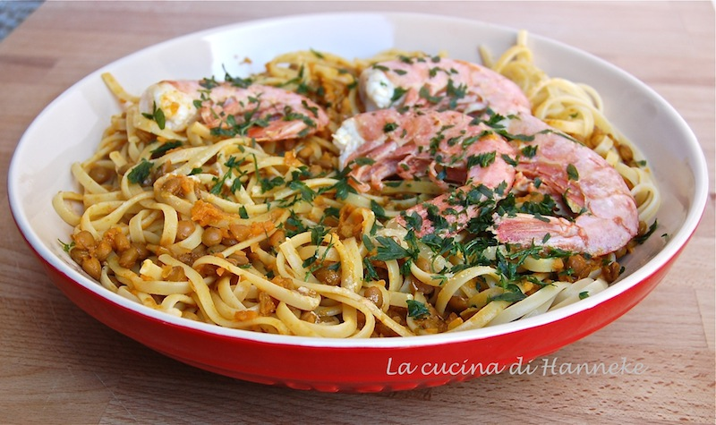linguine alle lenticchie curry e gamberi ricetta etnica world pasta day