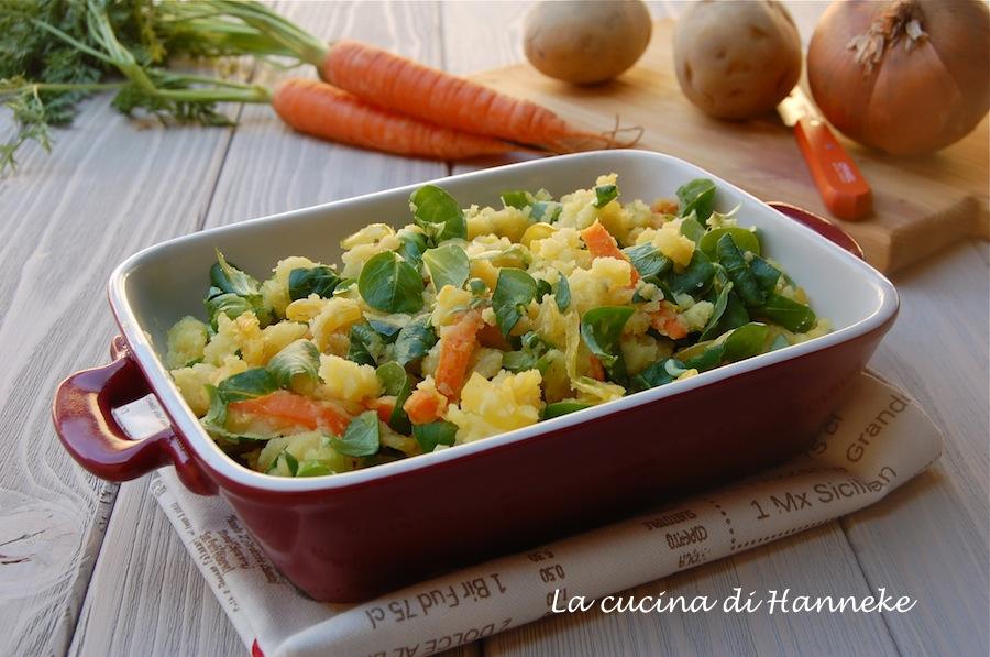 Purè di patate, carote e valeriana