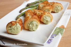 Cannonocini salati con crema di asparagi e speck