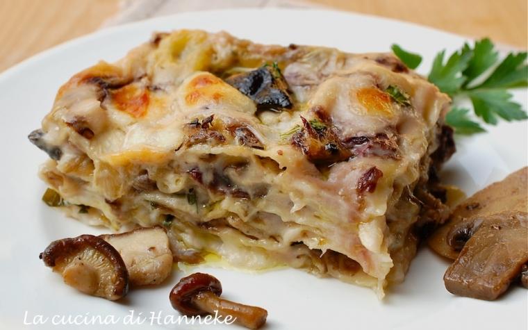 Lasagne ai funghi e radicchio