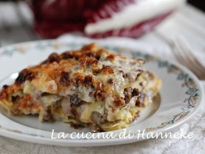 cremosissime lasagne al radicchio e carne trita besciamella
