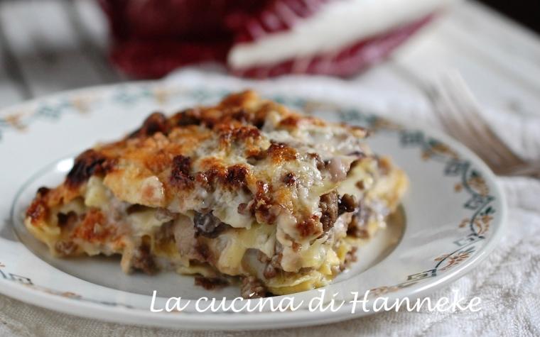 Cremosissime lasagne al radicchio e carne trita