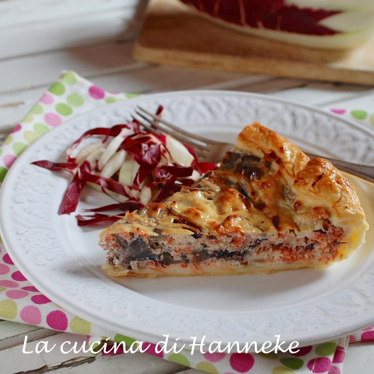 Torta salata al salmone e radicchio ricotta natale feste