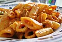 penne, mozzarella, primo, capperi, olive olio