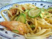 linguine al cartoccio scampi e zucchine, scampi, zucchine
