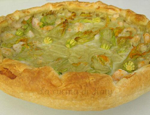 Torta salata ai fiori di zucca e gamberetti