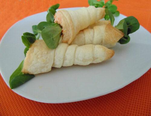 Carote di sfoglia con mousse di carote e piselli