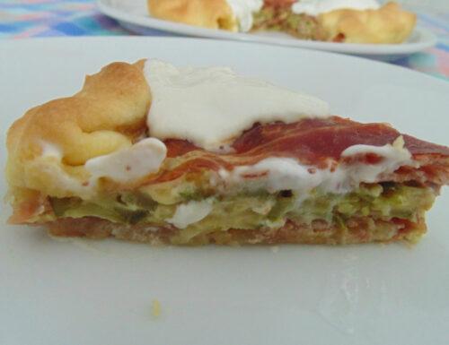 Torta zucchine burrata e prosciutto crudo