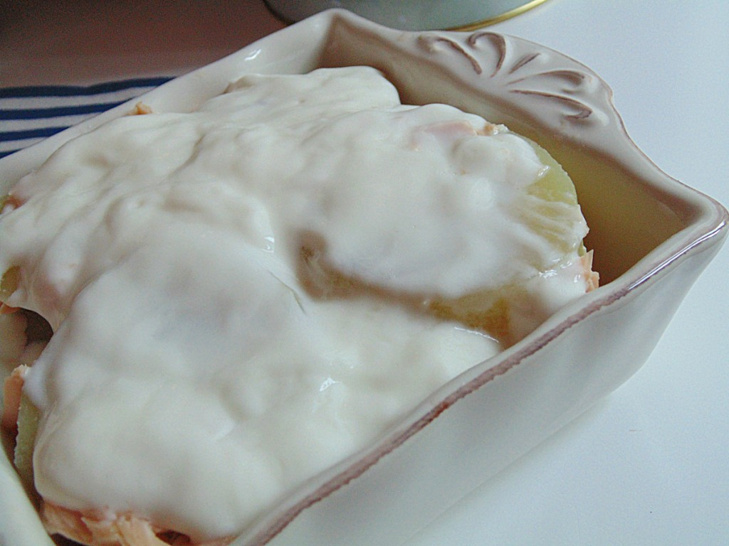 patate cremose con salmone affumicato