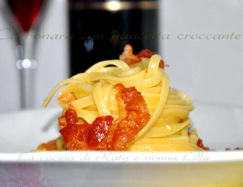 Pasta carbonara e pancetta croccante |Primi piatti