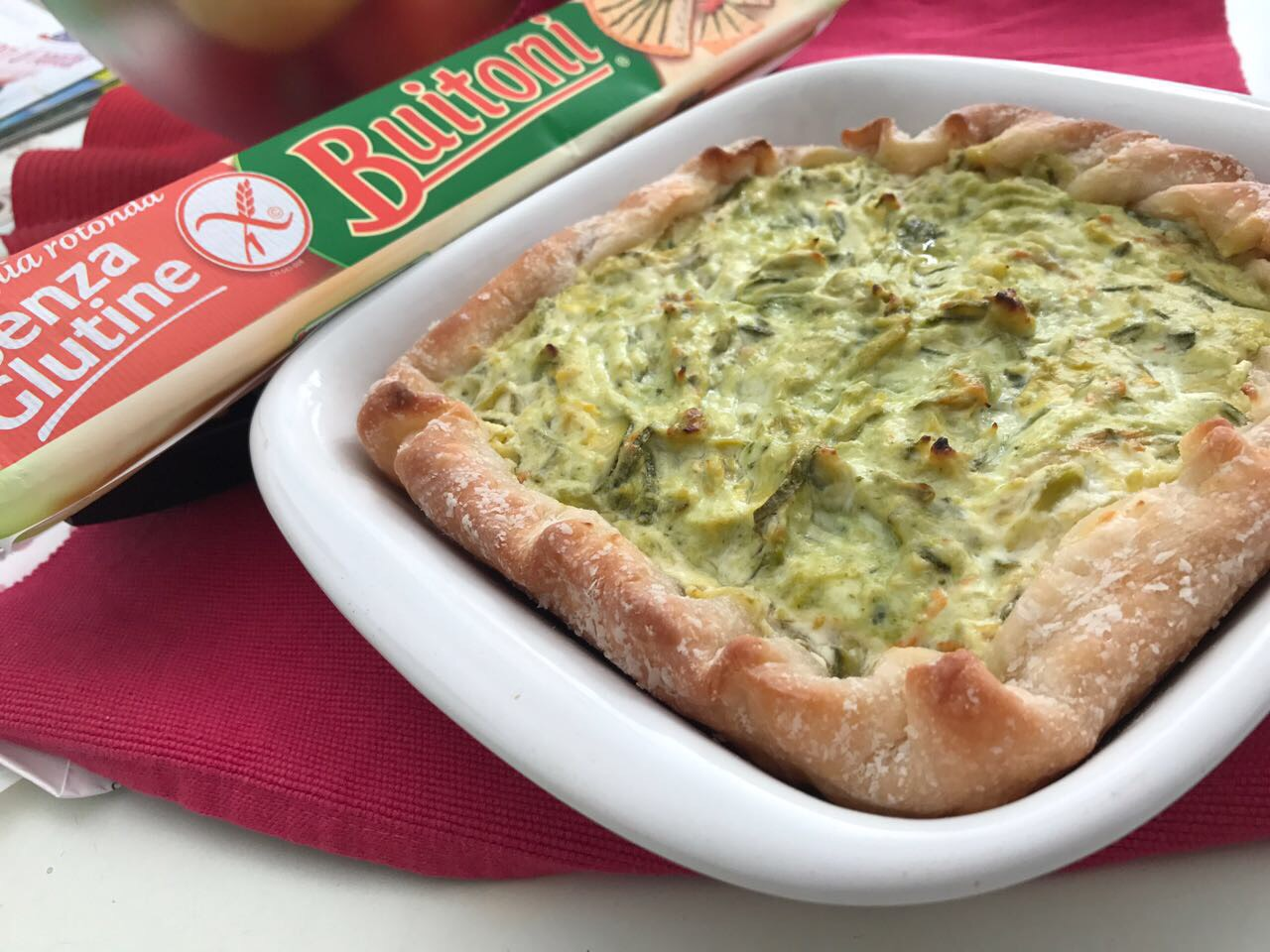 Torta gluten free con zucchine, stracchino e asiago