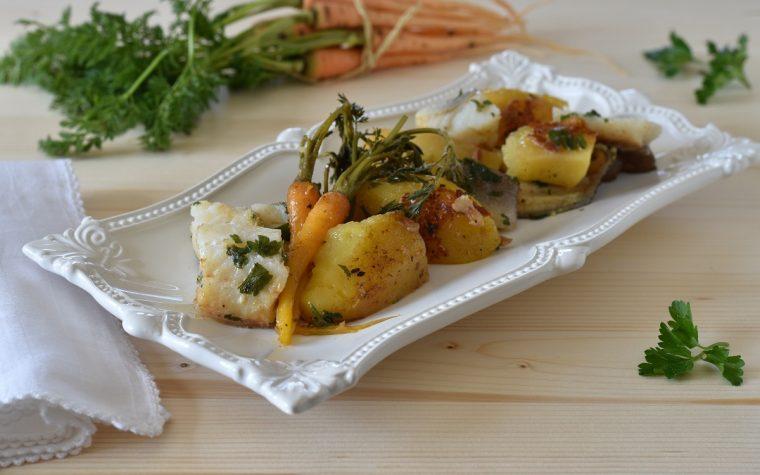 Baccalà in umido con patate piccanti e carote