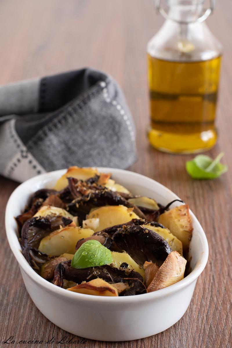 Funghi pleurotus al forno con patate d