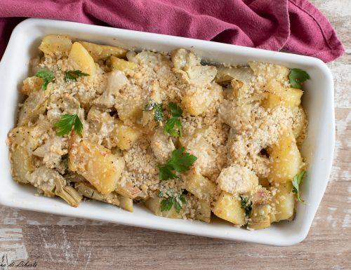 Carciofi e patate gratinati al forno