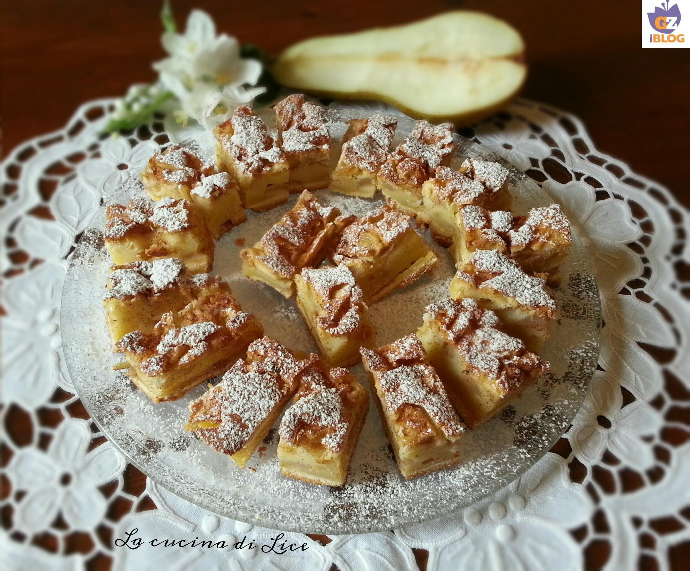 Tocchetti di torta con pere mandorle e cannella