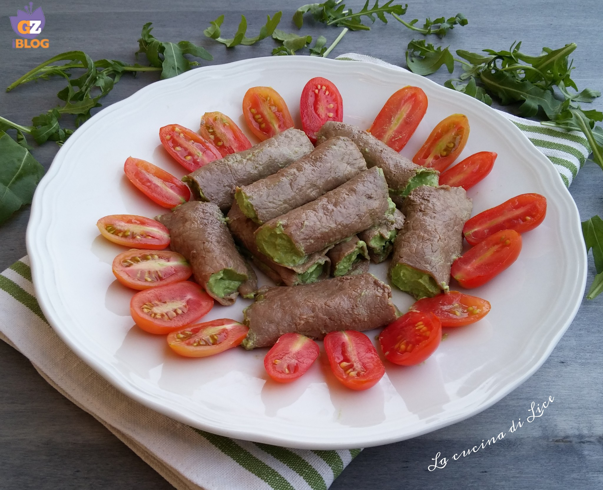 Involtini di carne con crema di rucola