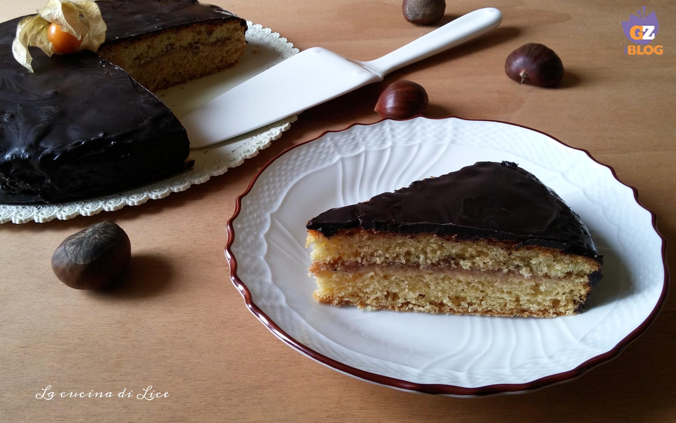 Torta con crema di marroni e panna