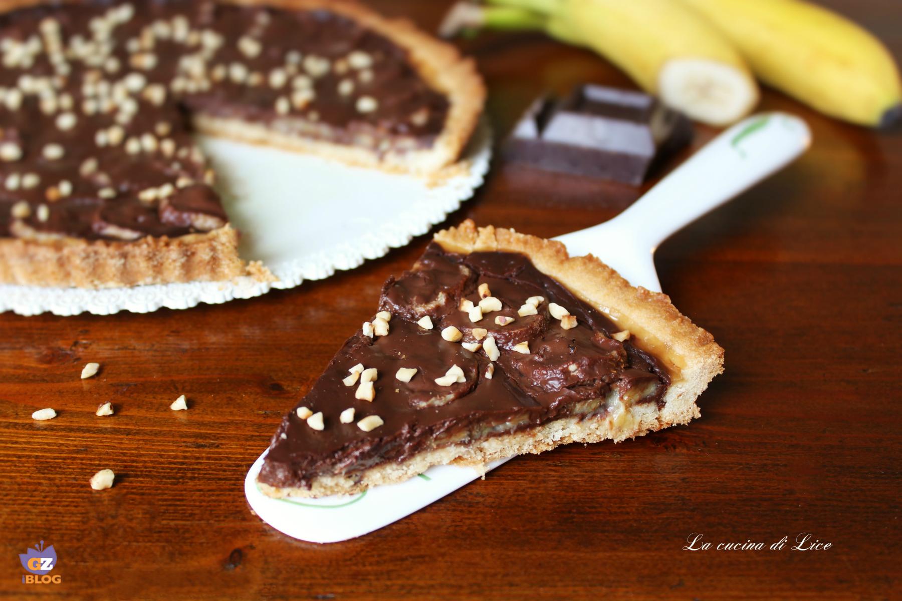 Crostata con cioccolato e banane