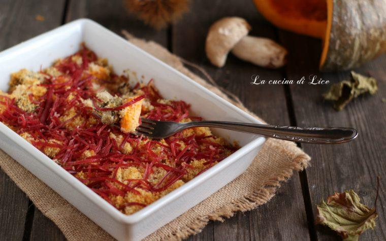 Zucca e porcini gratinati con julienne di bresaola