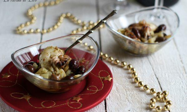 Seppioline con olive taggiasche, sedano e pesto