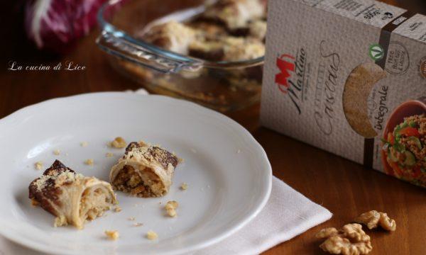 Involtini di radicchio con couscous noci e taleggio
