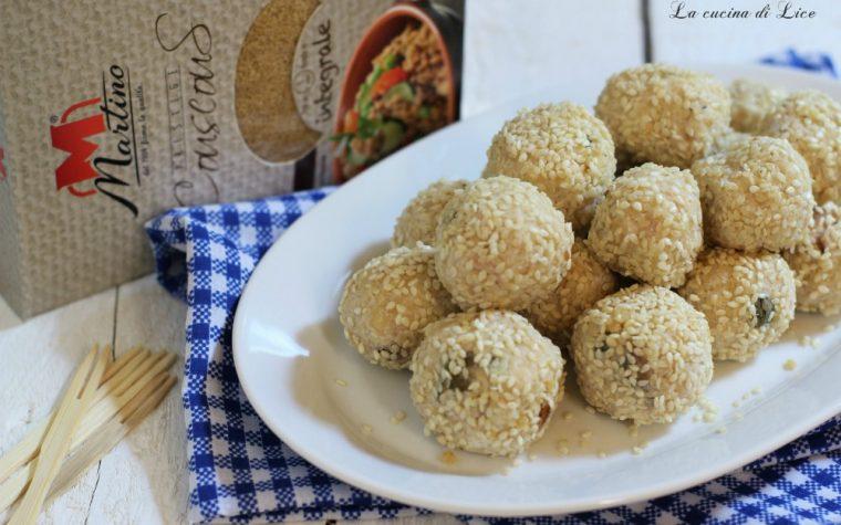 Tartufi salati di couscous tonno e ricotta