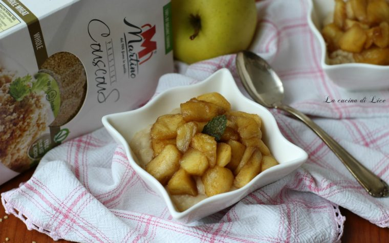 Crema dolce di couscous con mele e cannella