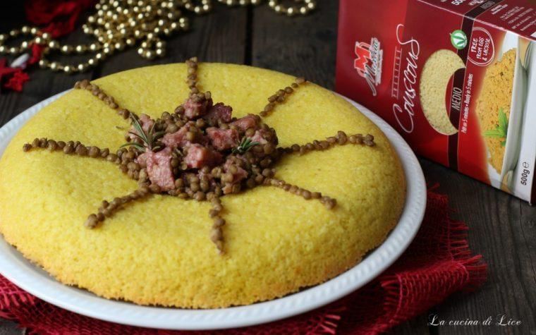 Corona di couscous alla curcuma con cotechino e lenticchie
