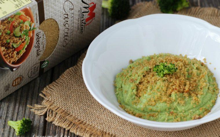 Crema di broccoli con couscous croccante all'acciuga