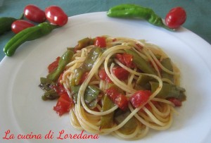 spaghetti con peperoncini verdi