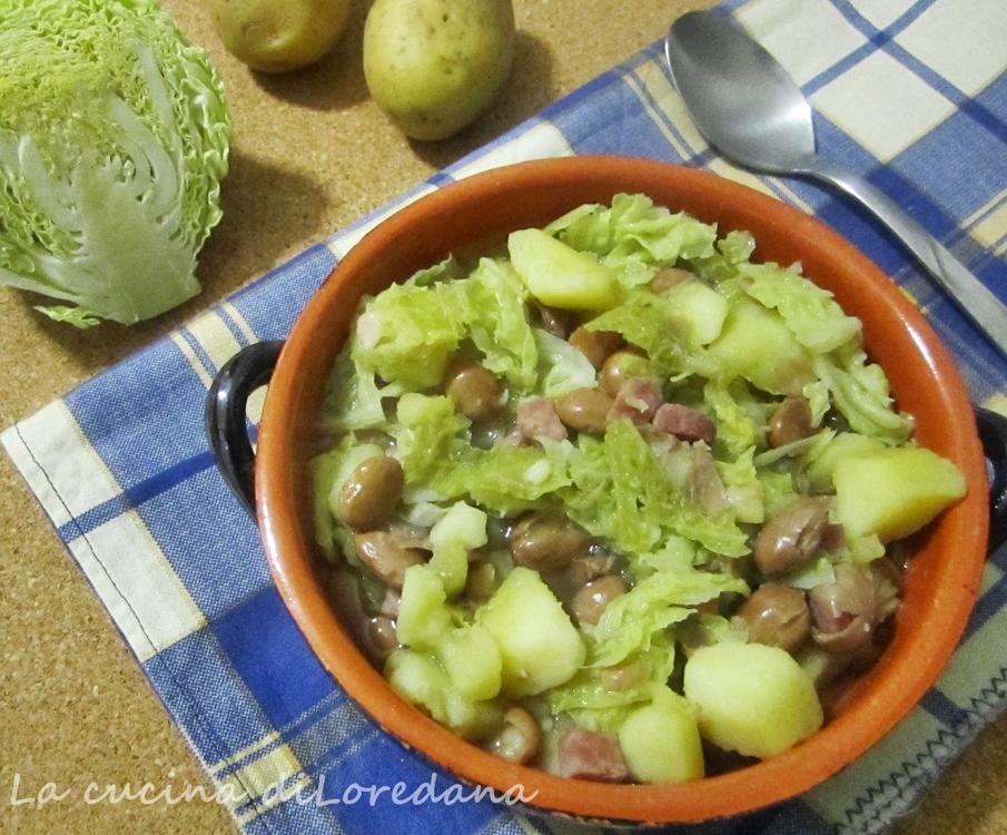 zuppa patate verza e fagioli