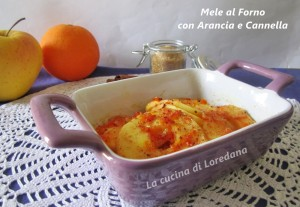 mele al forno con arance e cannella