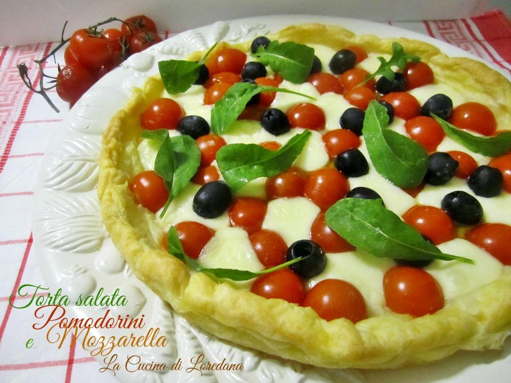 torta salata pomodorini e mozzarella