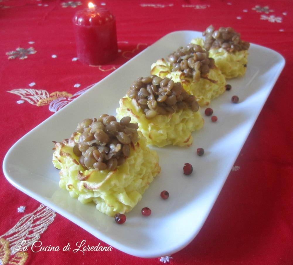 cestini di patate con lenticchie