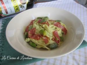 spaghetti con crema di fave