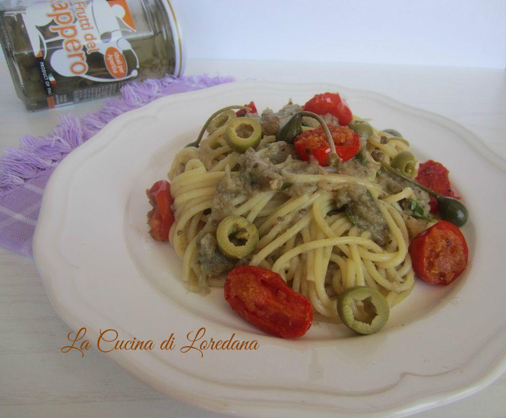 spaghetti con crema di melanzane