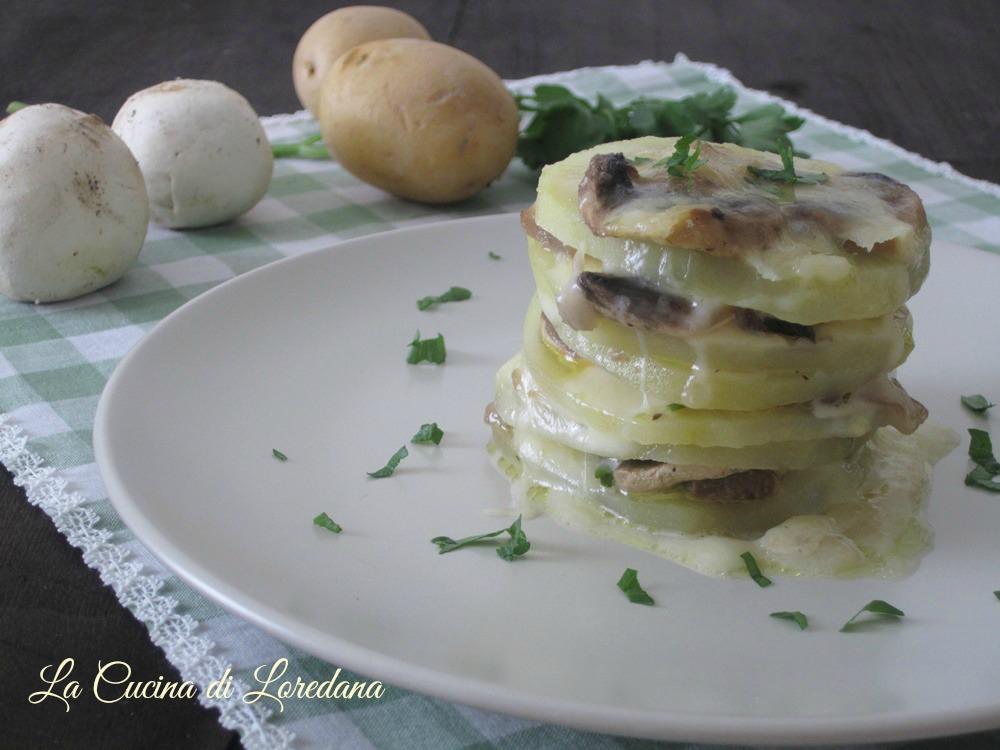 millefoglie di patate e funghi