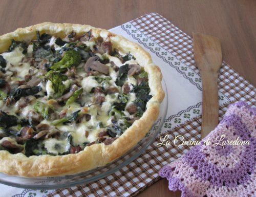 Torta salata con funghi e cime di rapa