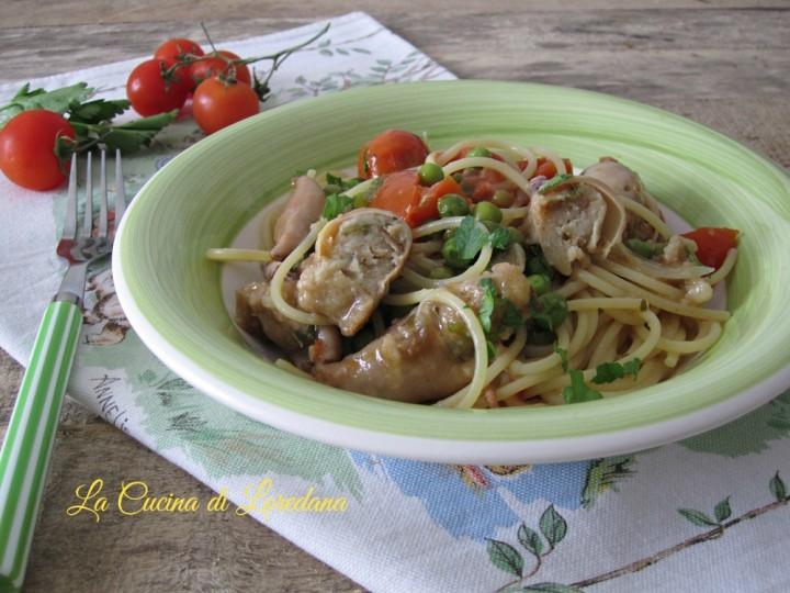 spaghetti con calamari ripieni