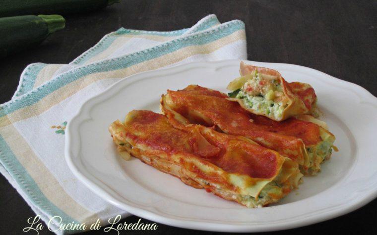 Cannelloni ripieni con ricotta e zucchine