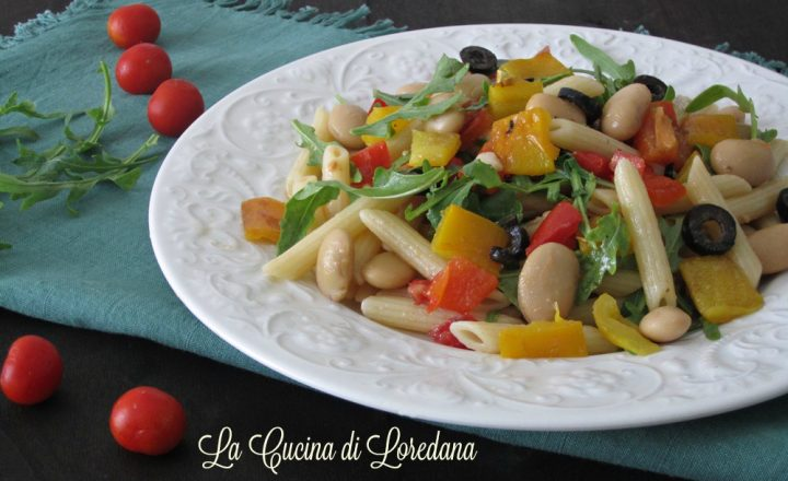 Insalata di pasta con fagioli e peperoni