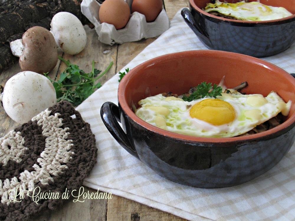 uova con funghi e fontina
