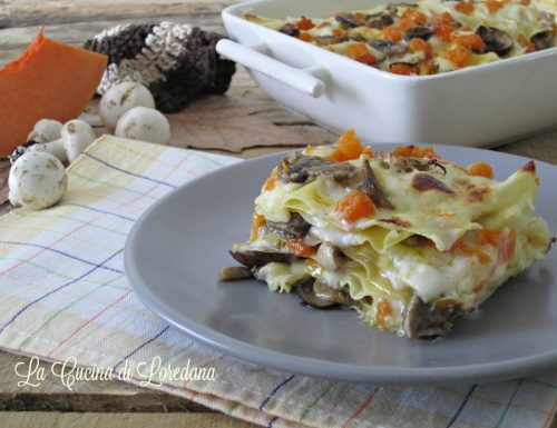 Lasagne con zucca e funghi