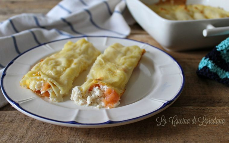 Cannelloni con salmone e ricotta