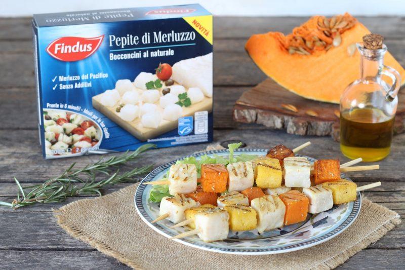 spiedini di merluzzo con polenta e zucca