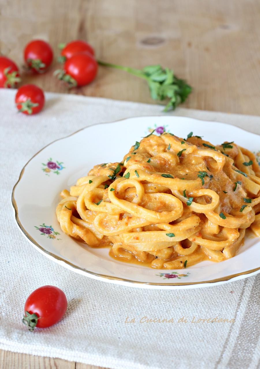 tagliolini con crema di peperoni