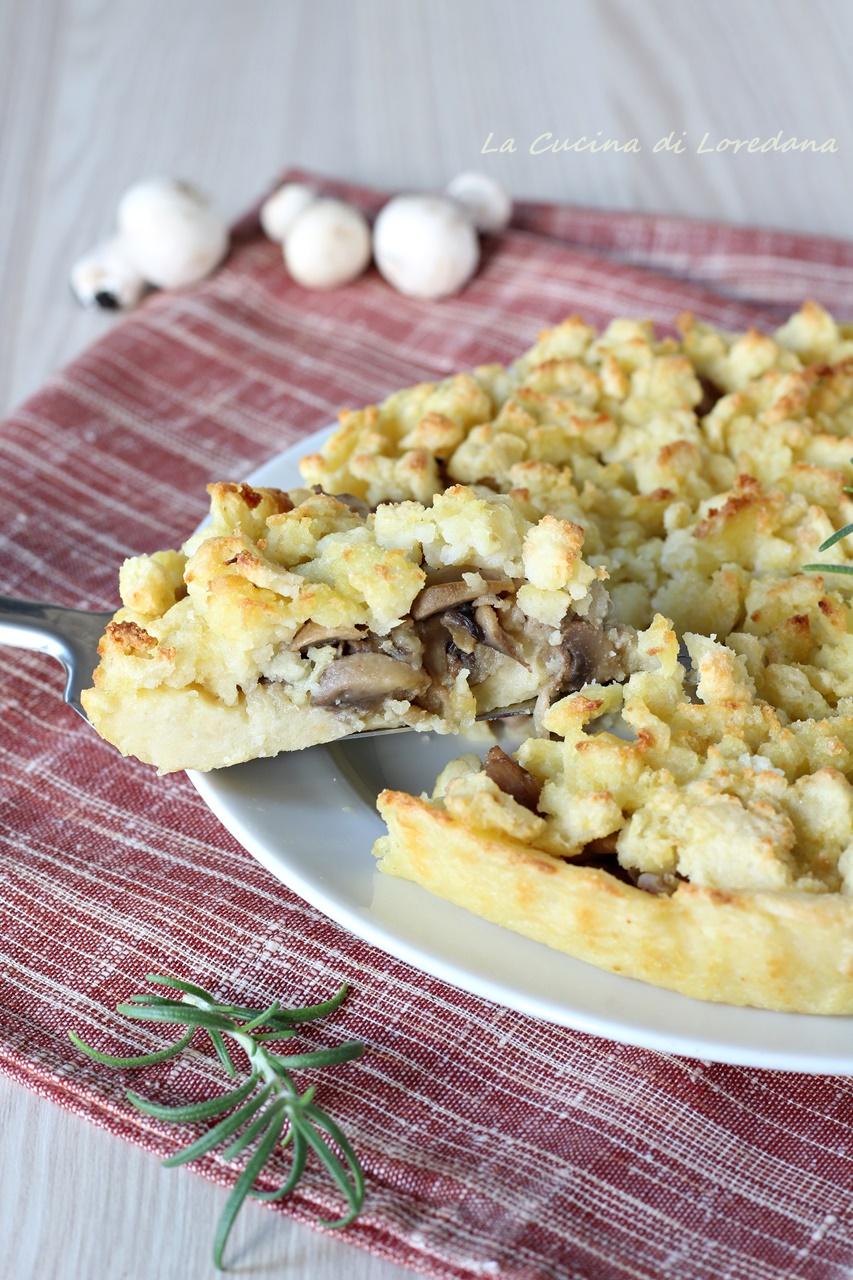 sbriciolata di patate con funghi