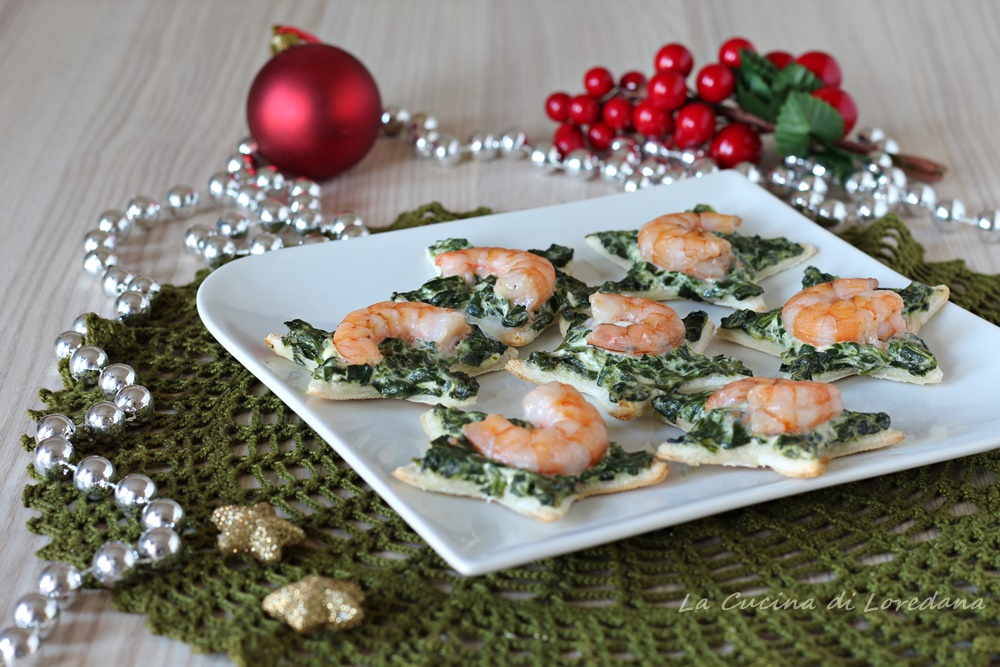 tartine gamberi e spinaci
