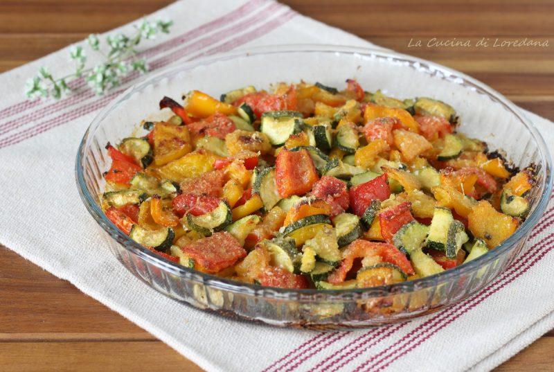 zucchine e peperoni gratinati