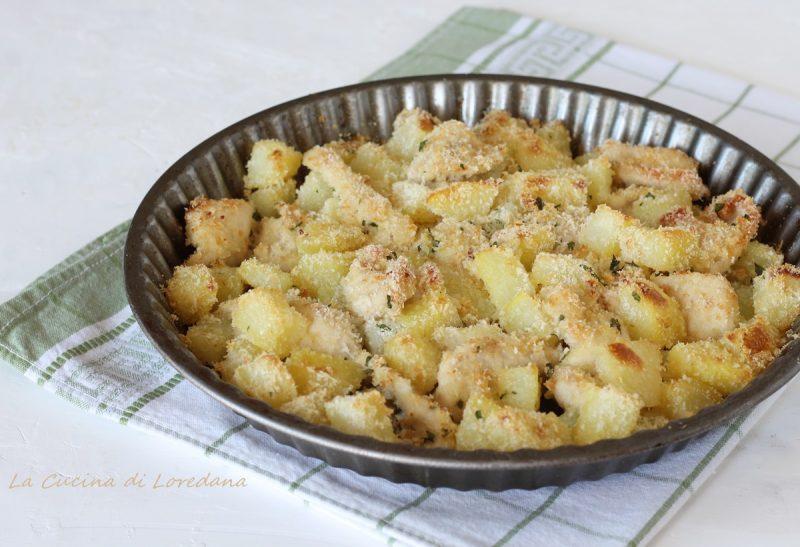 bocconcini di pollo con patate al forno